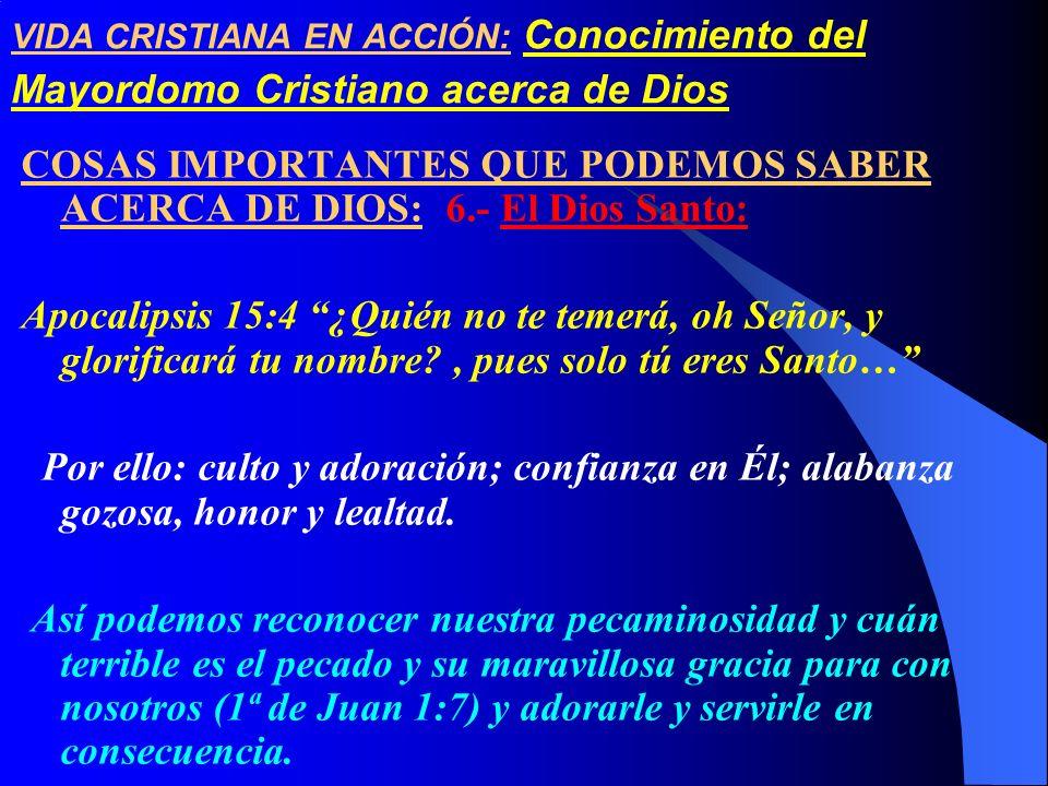 COSAS IMPORTANTES QUE PODEMOS SABER ACERCA DE DIOS: 6.- El Dios Santo: