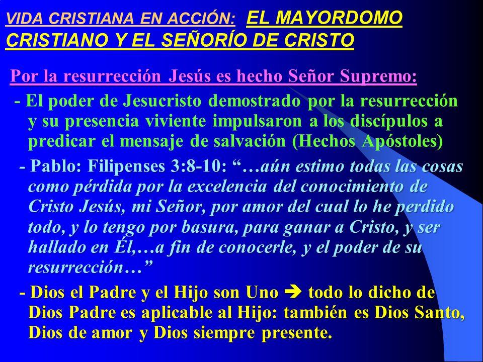 Por la resurrección Jesús es hecho Señor Supremo: