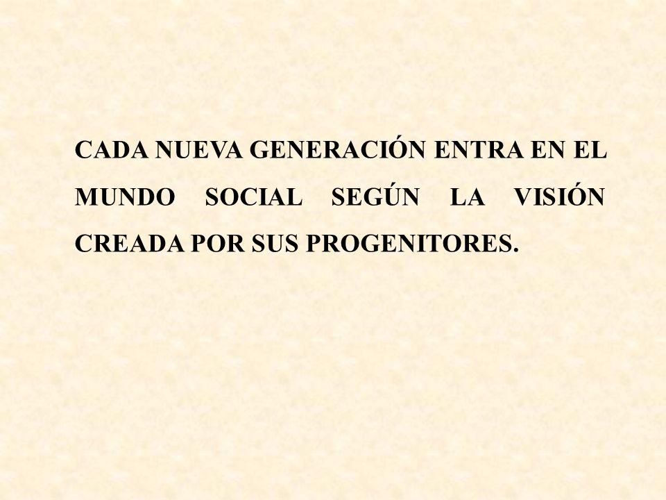 CADA NUEVA GENERACIÓN ENTRA EN EL MUNDO SOCIAL SEGÚN LA VISIÓN CREADA POR SUS PROGENITORES.