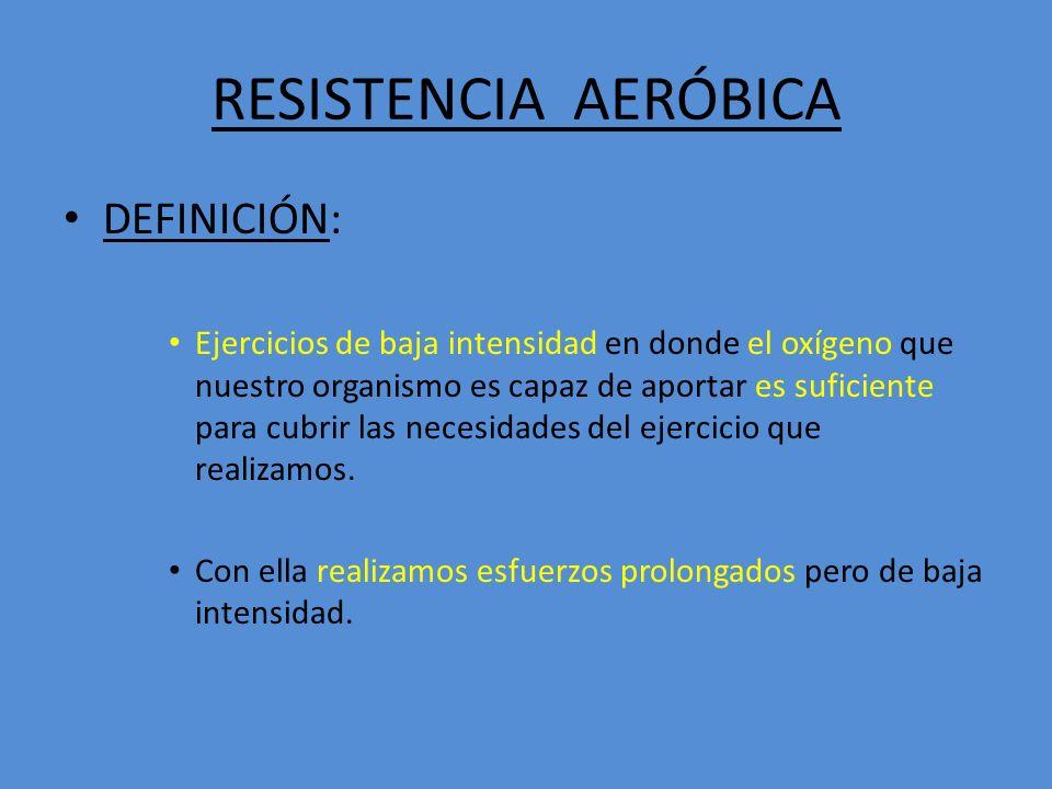 RESISTENCIA AERÓBICA DEFINICIÓN: