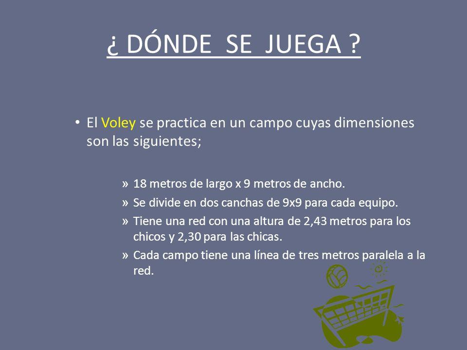 ¿ DÓNDE SE JUEGA El Voley se practica en un campo cuyas dimensiones son las siguientes; 18 metros de largo x 9 metros de ancho.