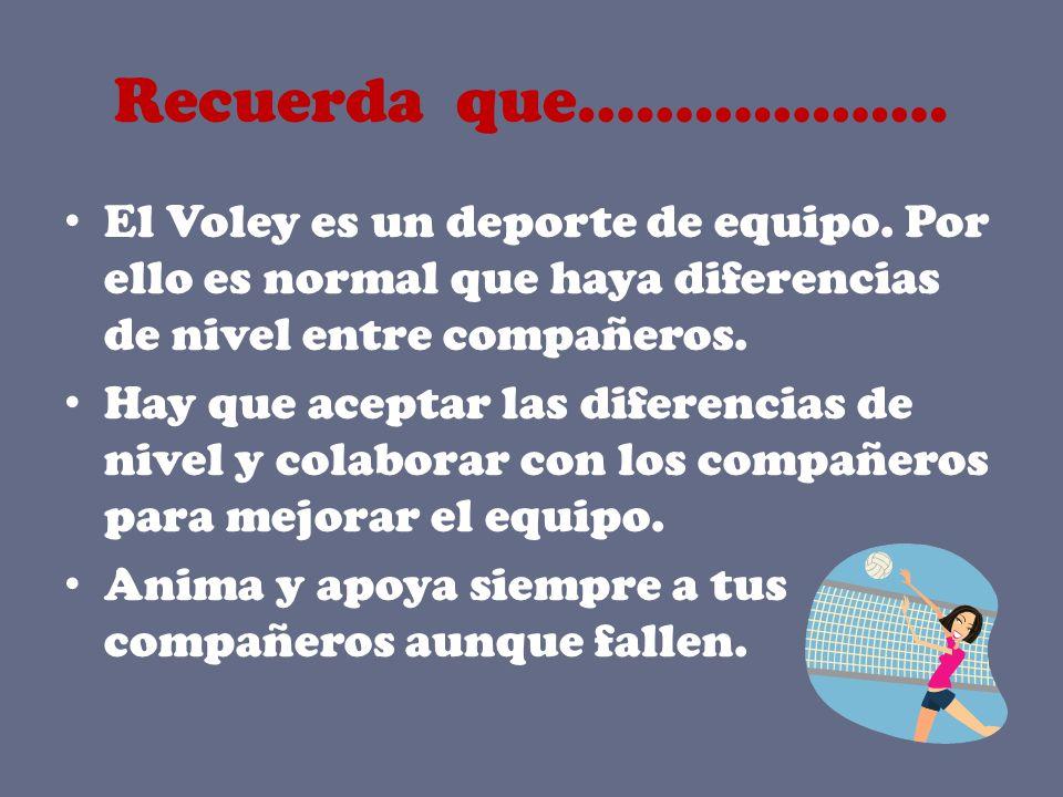 Recuerda que………………. El Voley es un deporte de equipo. Por ello es normal que haya diferencias de nivel entre compañeros.