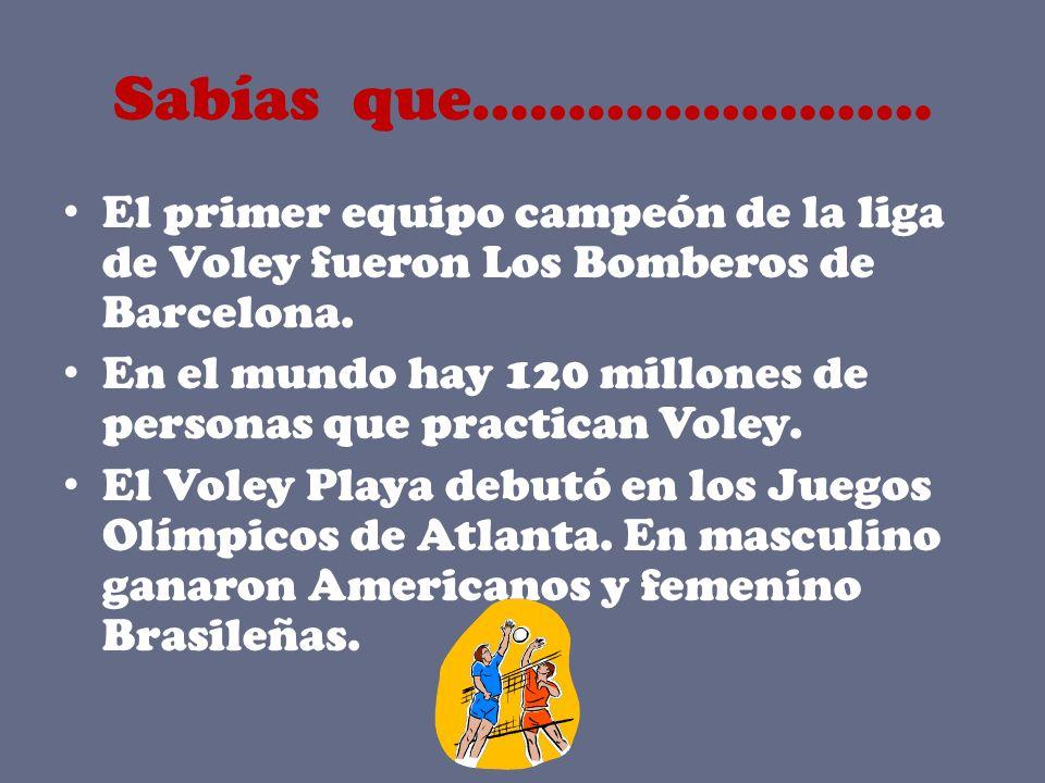 Sabías que…………………… El primer equipo campeón de la liga de Voley fueron Los Bomberos de Barcelona.