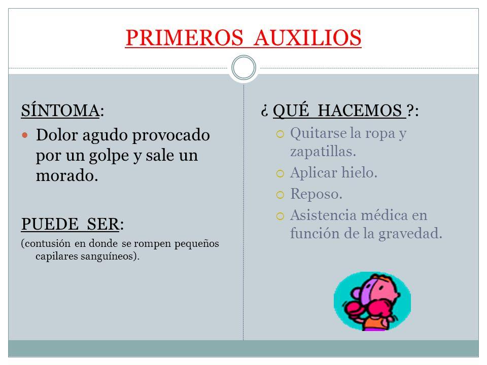 PRIMEROS AUXILIOS SÍNTOMA: