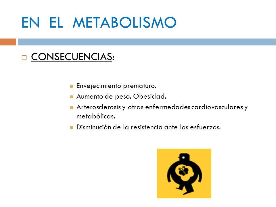 EN EL METABOLISMO CONSECUENCIAS: Envejecimiento prematuro.
