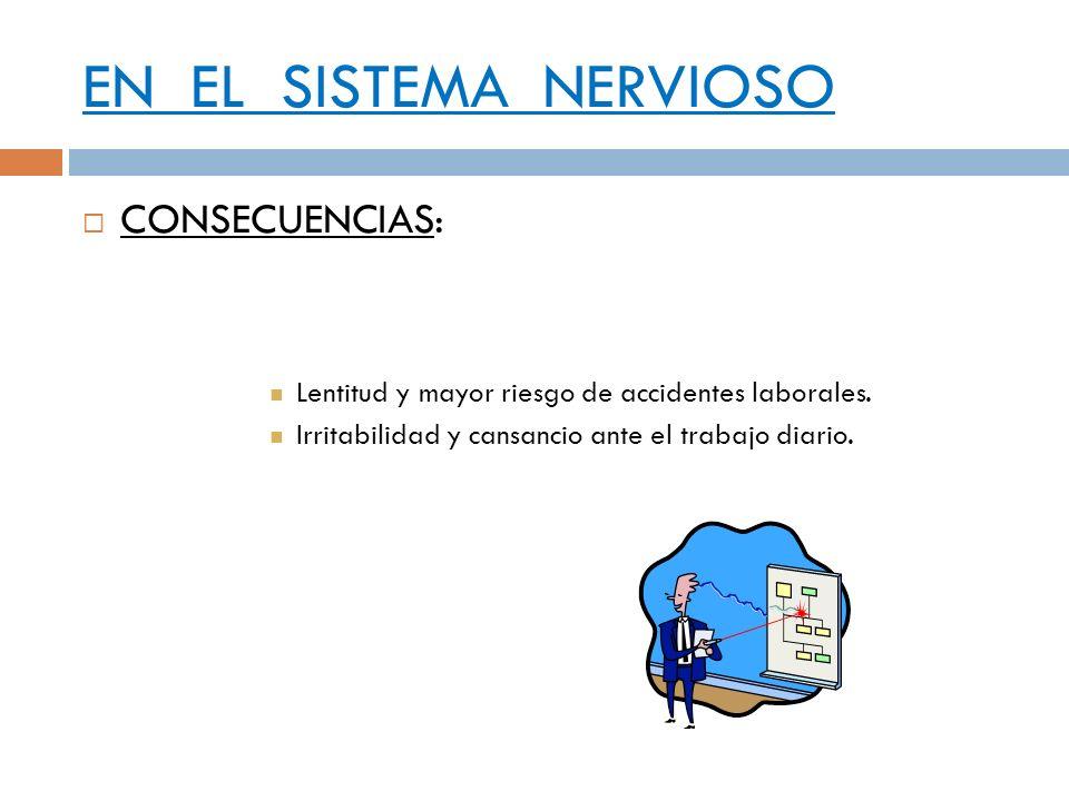 EN EL SISTEMA NERVIOSO CONSECUENCIAS: