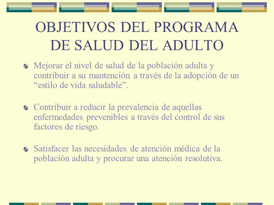 OBJETIVOS DEL PROGRAMA DE SALUD DEL ADULTO