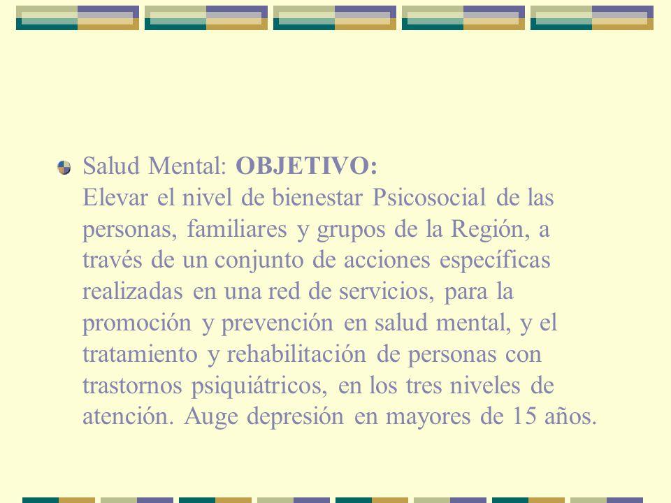 Salud Mental: OBJETIVO: Elevar el nivel de bienestar Psicosocial de las personas, familiares y grupos de la Región, a través de un conjunto de acciones específicas realizadas en una red de servicios, para la promoción y prevención en salud mental, y el tratamiento y rehabilitación de personas con trastornos psiquiátricos, en los tres niveles de atención.
