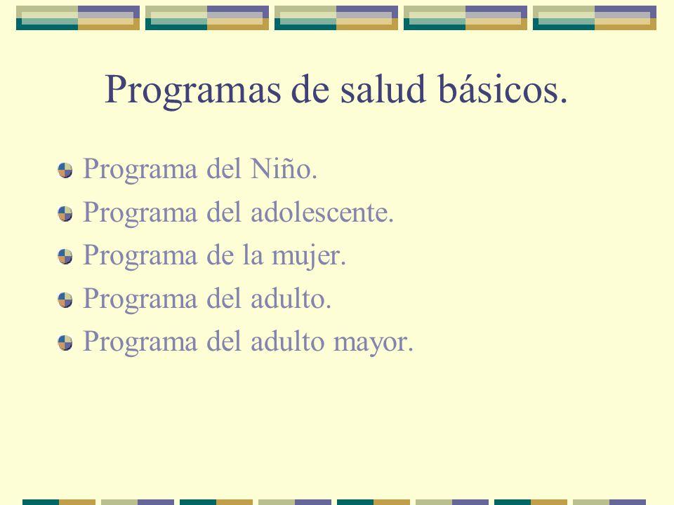Programas de salud básicos.