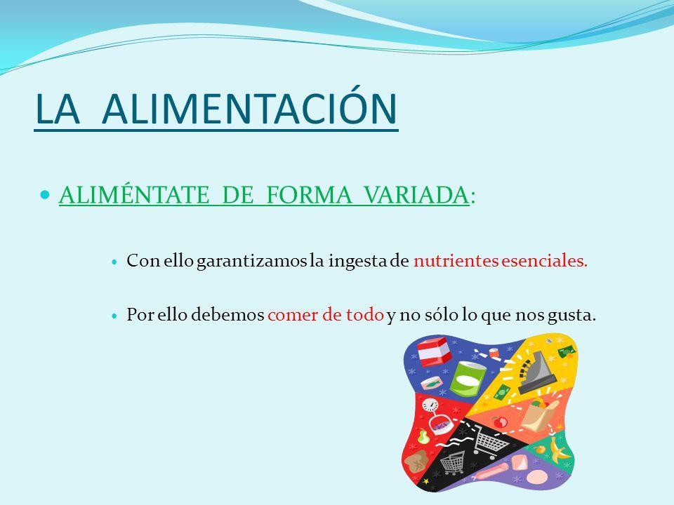 LA ALIMENTACIÓN ALIMÉNTATE DE FORMA VARIADA: