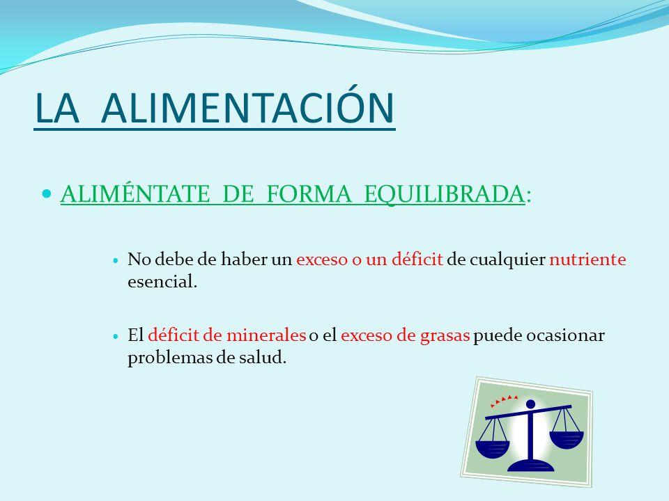 LA ALIMENTACIÓN ALIMÉNTATE DE FORMA EQUILIBRADA: