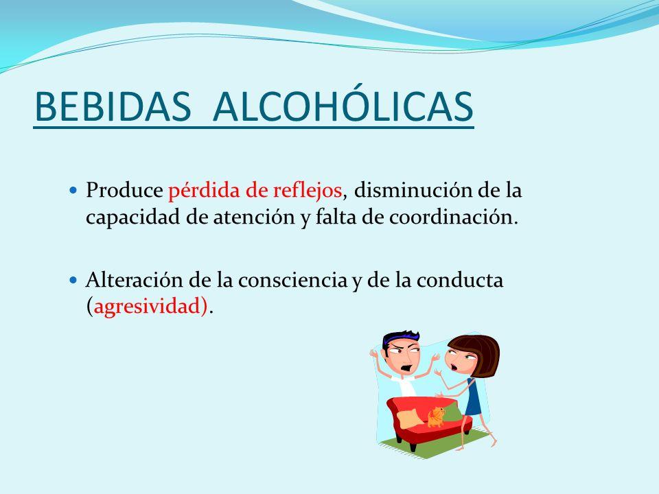 BEBIDAS ALCOHÓLICAS Produce pérdida de reflejos, disminución de la capacidad de atención y falta de coordinación.