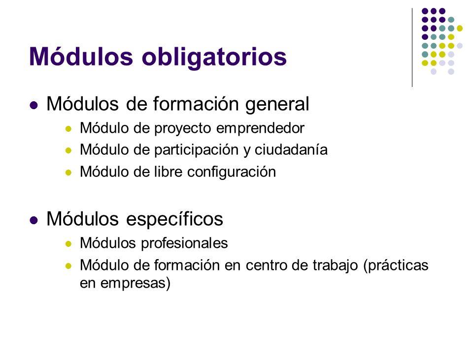 Módulos obligatorios Módulos de formación general Módulos específicos