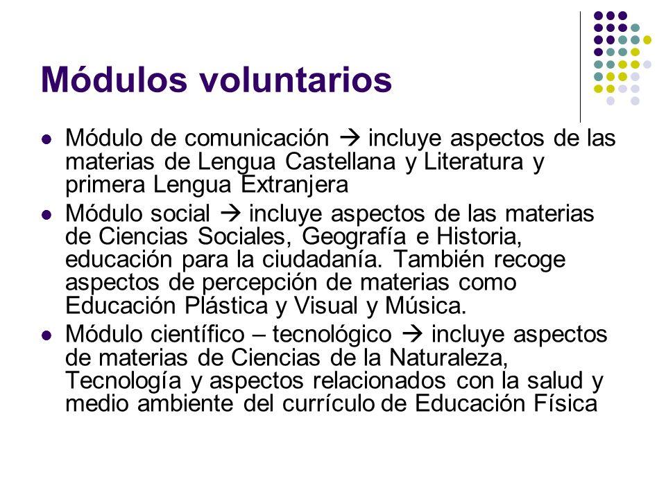Módulos voluntarios Módulo de comunicación  incluye aspectos de las materias de Lengua Castellana y Literatura y primera Lengua Extranjera.