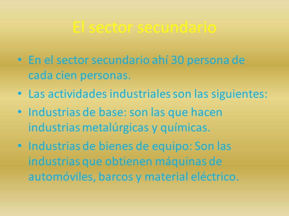 El sector secundario En el sector secundario ahí 30 persona de cada cien personas. Las actividades industriales son las siguientes: