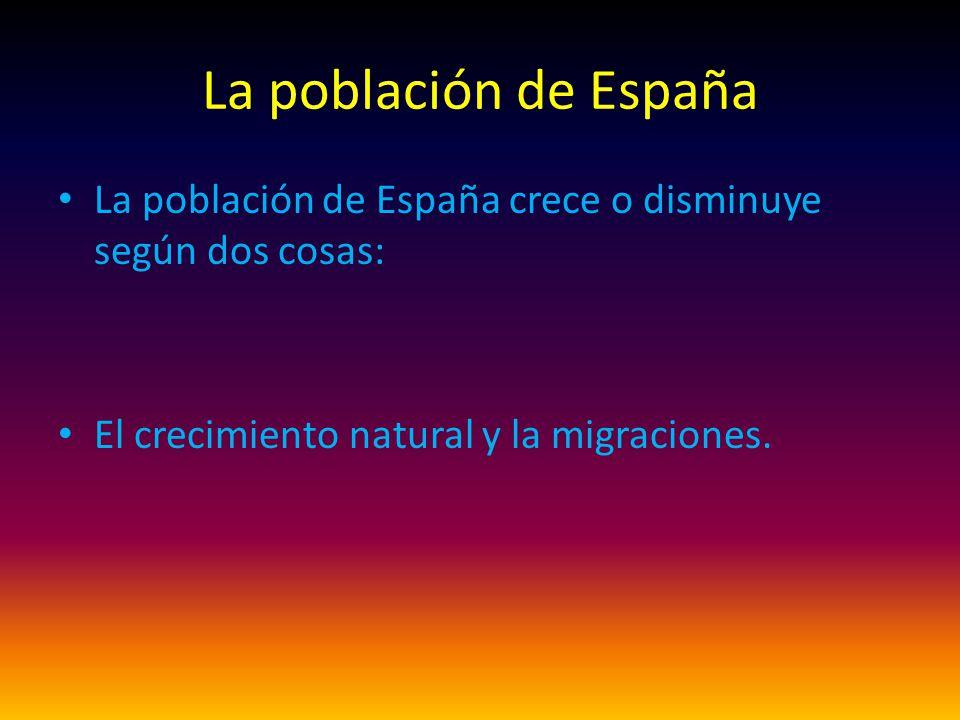 La población de España La población de España crece o disminuye según dos cosas: El crecimiento natural y la migraciones.