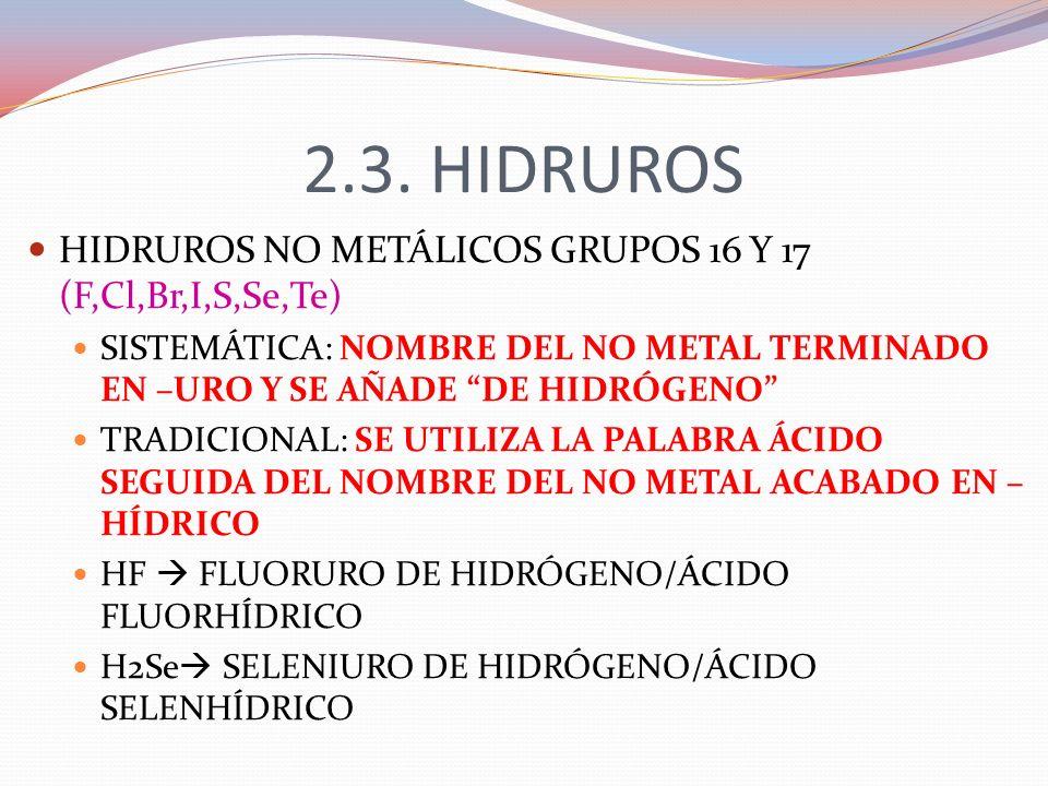 2.3. HIDRUROS HIDRUROS NO METÁLICOS GRUPOS 16 Y 17 (F,Cl,Br,I,S,Se,Te)