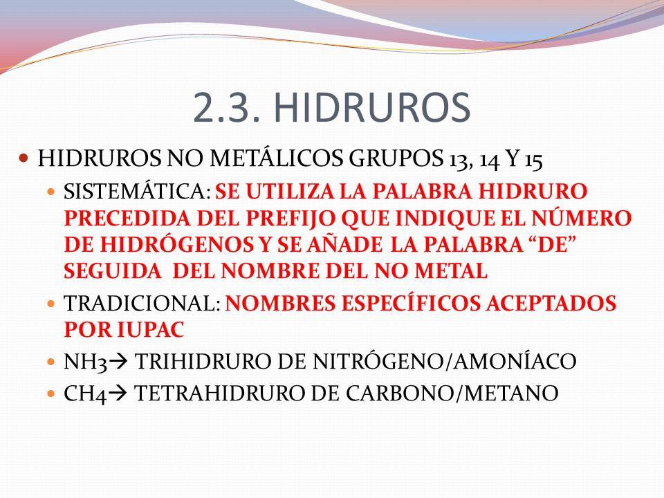 2.3. HIDRUROS HIDRUROS NO METÁLICOS GRUPOS 13, 14 Y 15