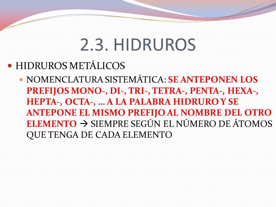 2.3. HIDRUROS HIDRUROS METÁLICOS