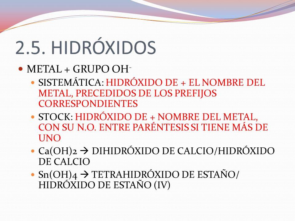 2.5. HIDRÓXIDOS METAL + GRUPO OH-