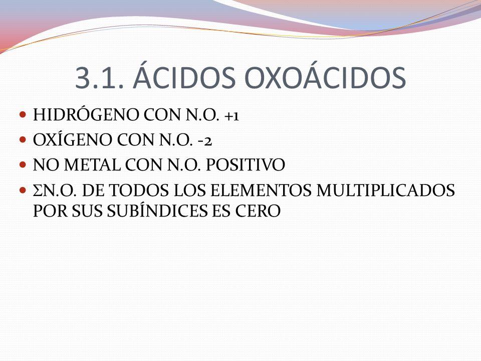 3.1. ÁCIDOS OXOÁCIDOS HIDRÓGENO CON N.O. +1 OXÍGENO CON N.O. -2