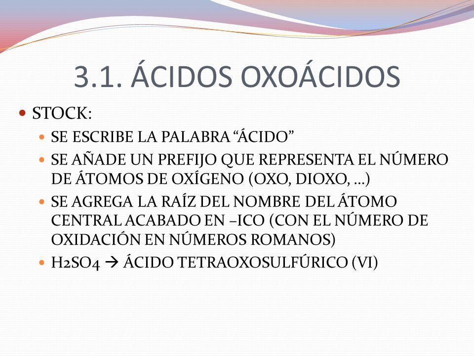 3.1. ÁCIDOS OXOÁCIDOS STOCK: SE ESCRIBE LA PALABRA ÁCIDO