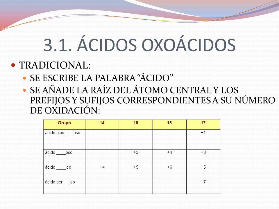 3.1. ÁCIDOS OXOÁCIDOS TRADICIONAL: SE ESCRIBE LA PALABRA ÁCIDO
