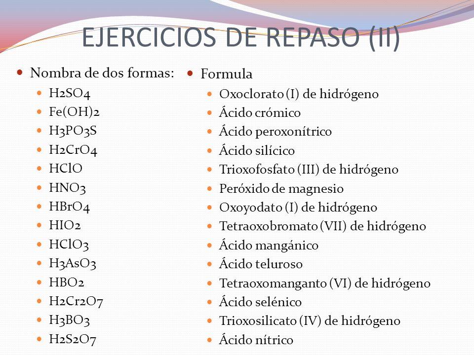 EJERCICIOS DE REPASO (II)