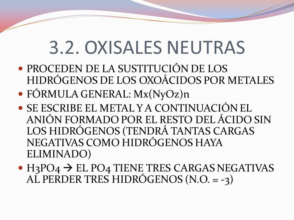 3.2. OXISALES NEUTRAS PROCEDEN DE LA SUSTITUCIÓN DE LOS HIDRÓGENOS DE LOS OXOÁCIDOS POR METALES. FÓRMULA GENERAL: Mx(NyOz)n.