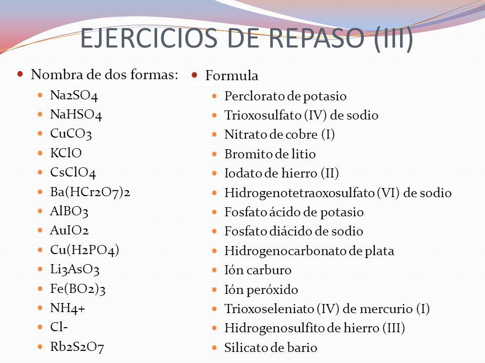 EJERCICIOS DE REPASO (III)