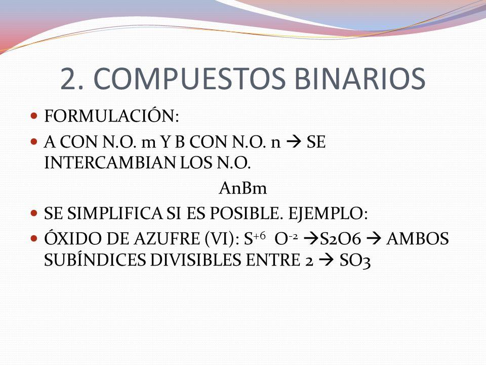 2. COMPUESTOS BINARIOS FORMULACIÓN: