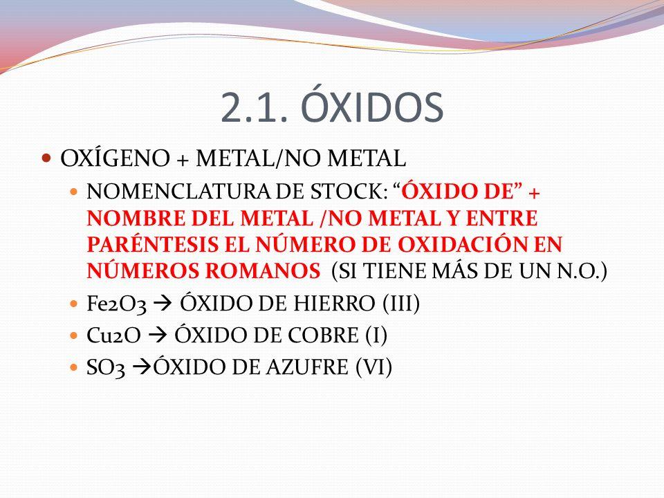 2.1. ÓXIDOS OXÍGENO + METAL/NO METAL