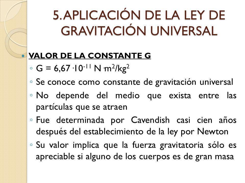 5. APLICACIÓN DE LA LEY DE GRAVITACIÓN UNIVERSAL