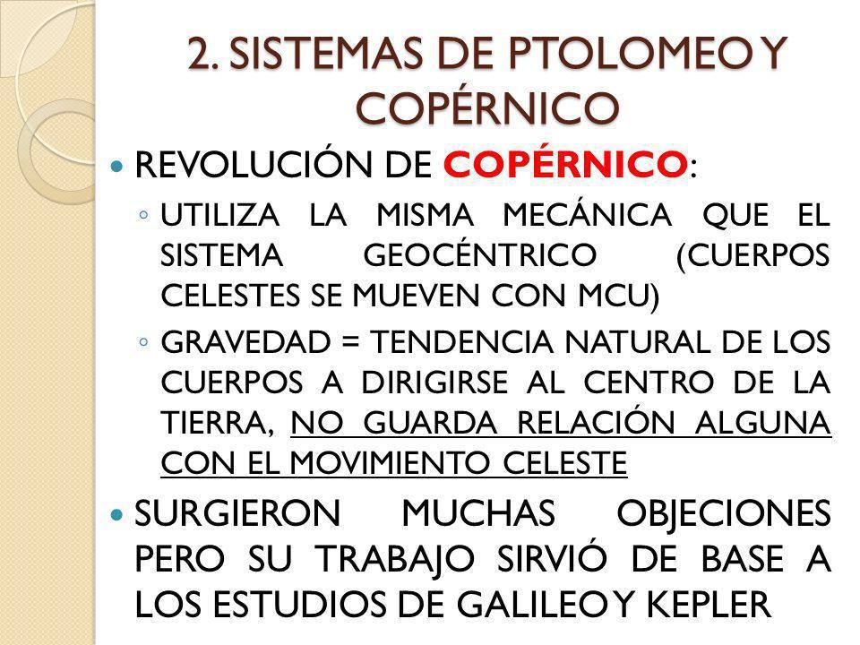 2. SISTEMAS DE PTOLOMEO Y COPÉRNICO