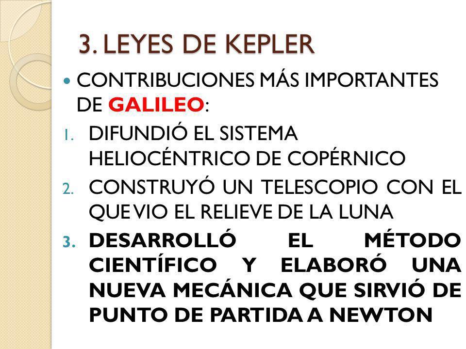 3. LEYES DE KEPLER CONTRIBUCIONES MÁS IMPORTANTES DE GALILEO: