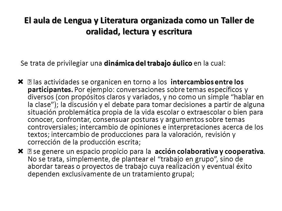El aula de Lengua y Literatura organizada como un Taller de oralidad, lectura y escritura