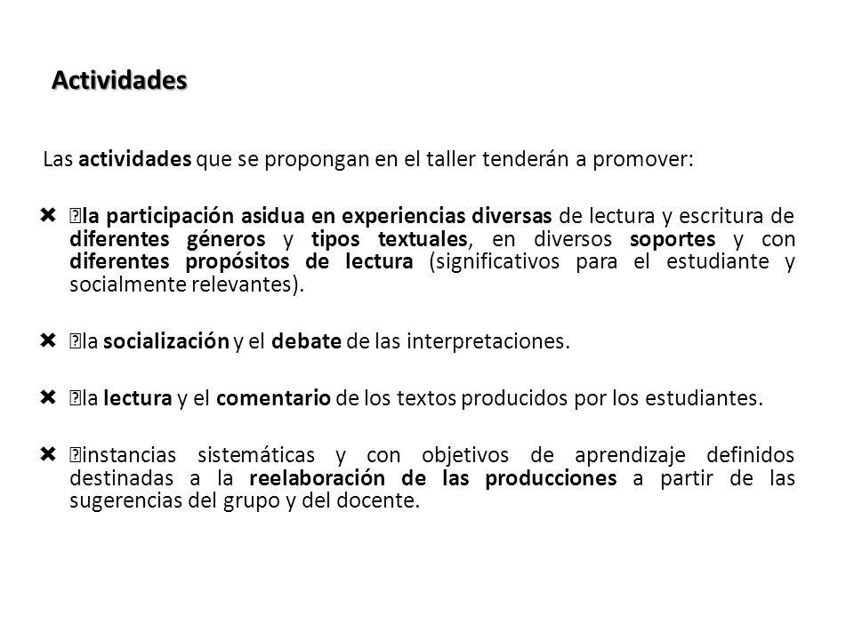 Actividades Las actividades que se propongan en el taller tenderán a promover: