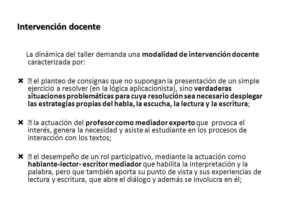 Intervención docente La dinámica del taller demanda una modalidad de intervención docente caracterizada por: