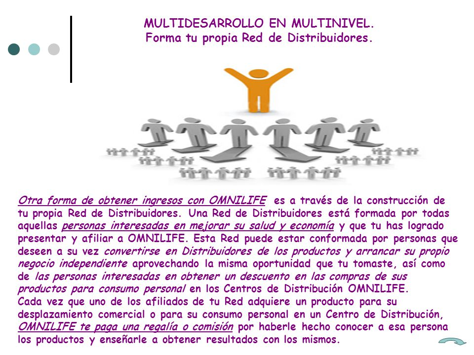 MULTIDESARROLLO EN MULTINIVEL. Forma tu propia Red de Distribuidores.