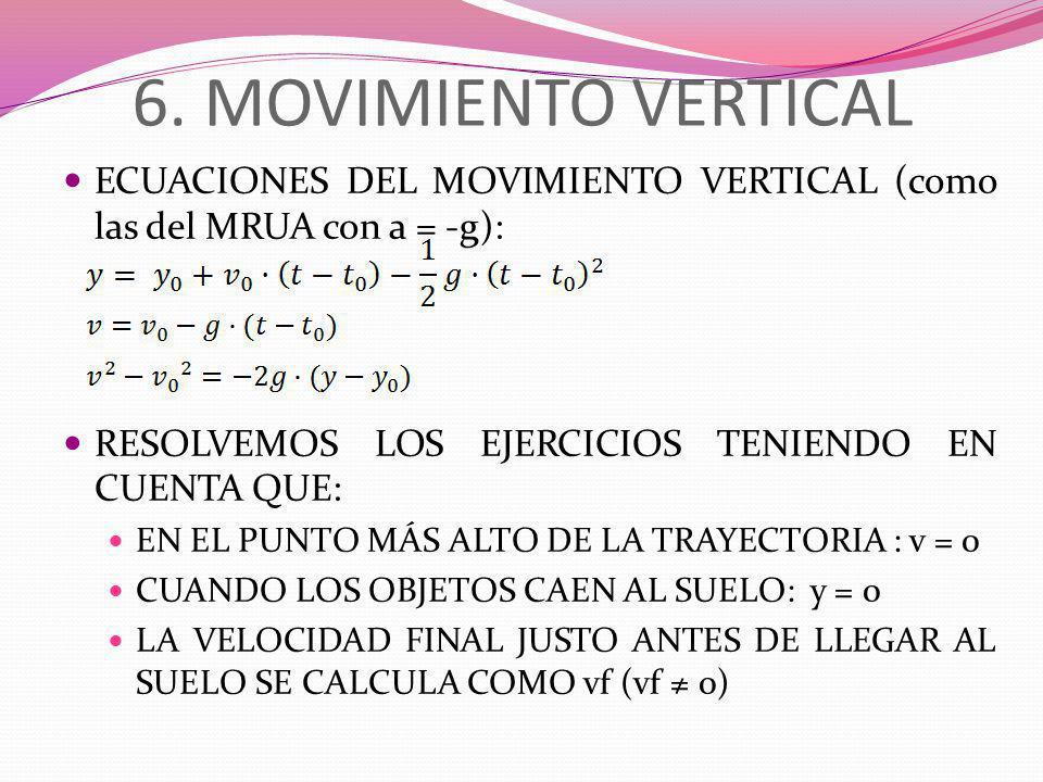 6. MOVIMIENTO VERTICAL ECUACIONES DEL MOVIMIENTO VERTICAL (como las del MRUA con a = -g): RESOLVEMOS LOS EJERCICIOS TENIENDO EN CUENTA QUE: