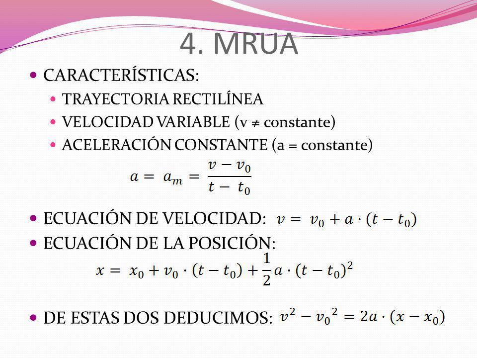 4. MRUA CARACTERÍSTICAS: ECUACIÓN DE VELOCIDAD: