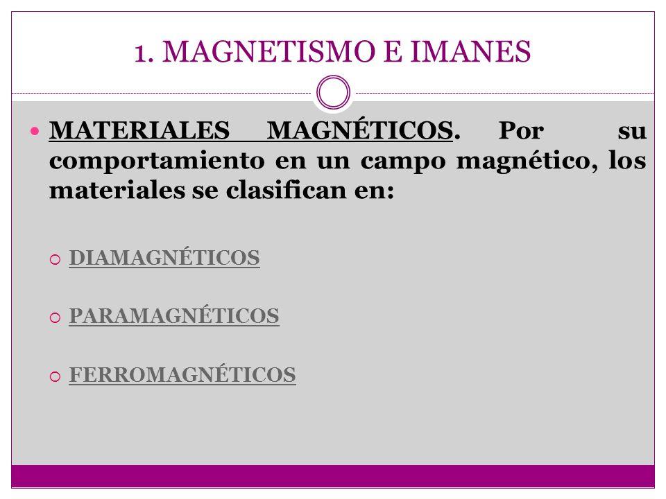 1. MAGNETISMO E IMANES MATERIALES MAGNÉTICOS. Por su comportamiento en un campo magnético, los materiales se clasifican en: