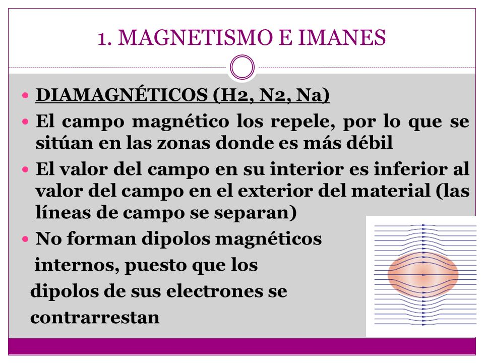 1. MAGNETISMO E IMANES DIAMAGNÉTICOS (H2, N2, Na)