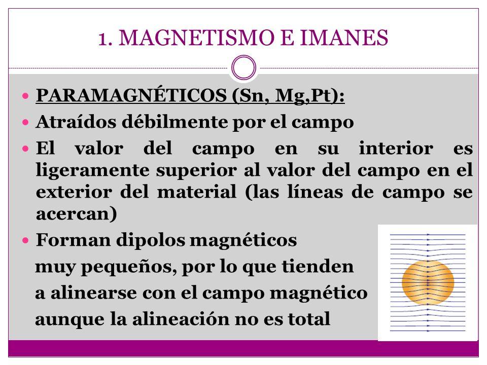 1. MAGNETISMO E IMANES PARAMAGNÉTICOS (Sn, Mg,Pt):