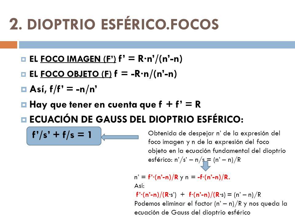 2. DIOPTRIO ESFÉRICO.FOCOS