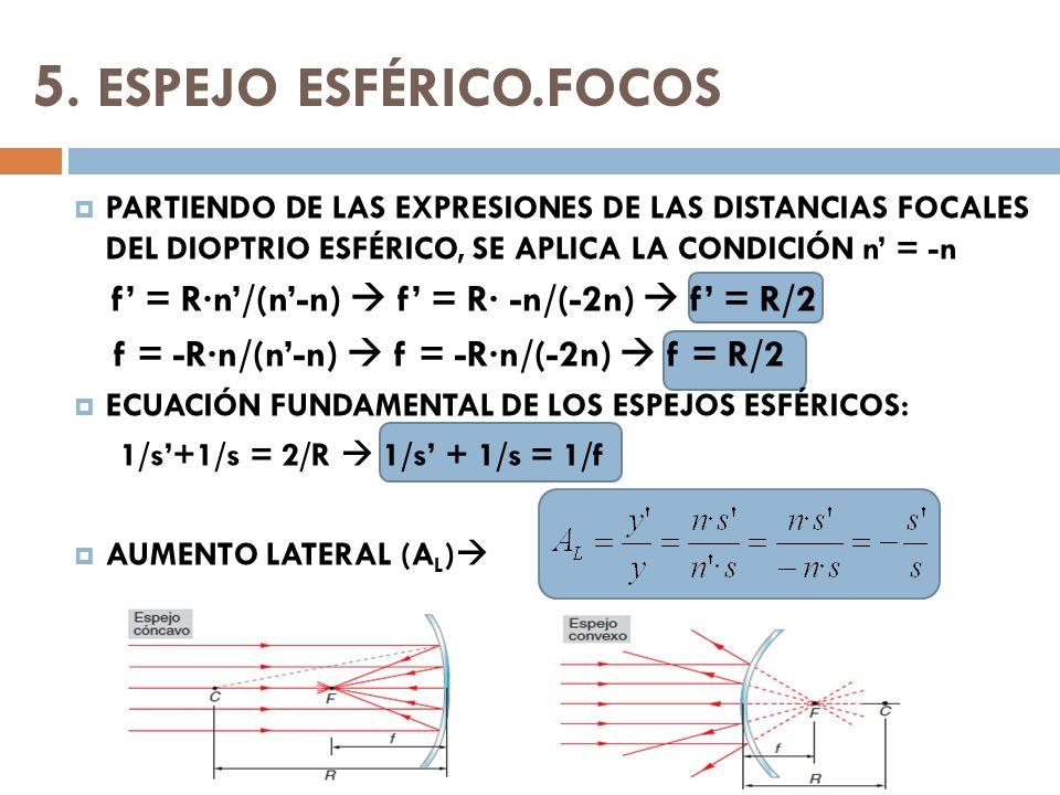 5. ESPEJO ESFÉRICO.FOCOS PARTIENDO DE LAS EXPRESIONES DE LAS DISTANCIAS FOCALES DEL DIOPTRIO ESFÉRICO, SE APLICA LA CONDICIÓN n' = -n.