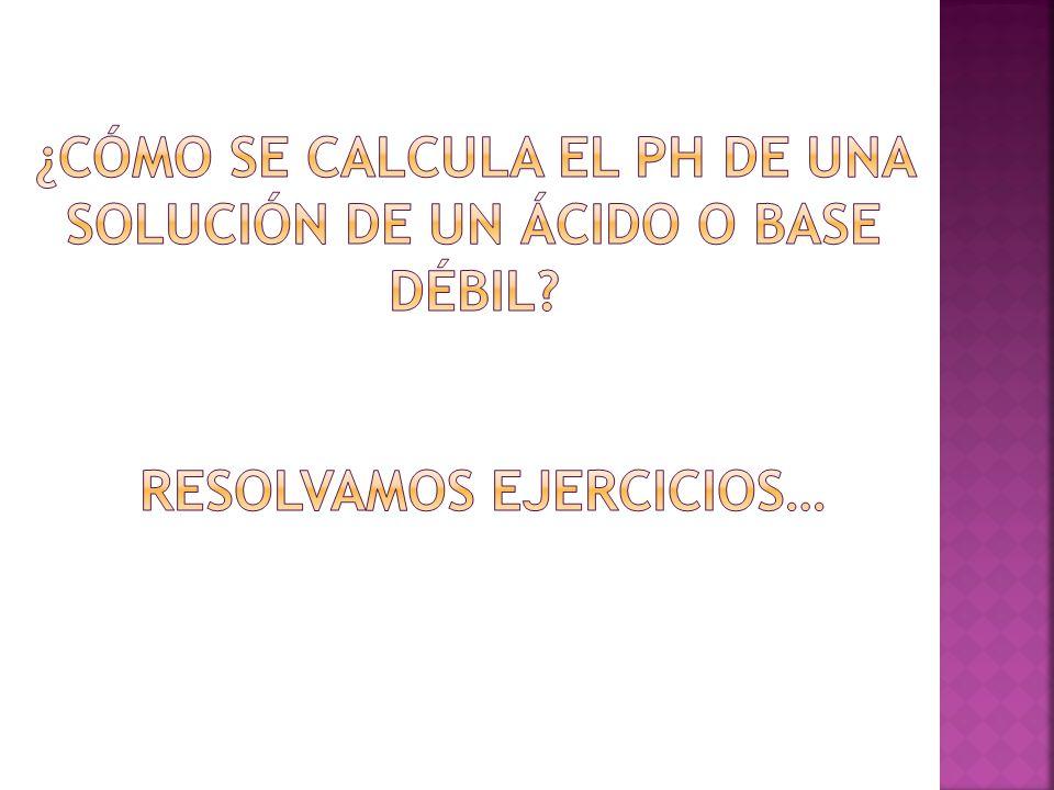 ¿Cómo se calcula el pH de una solución de un ácido o base débil