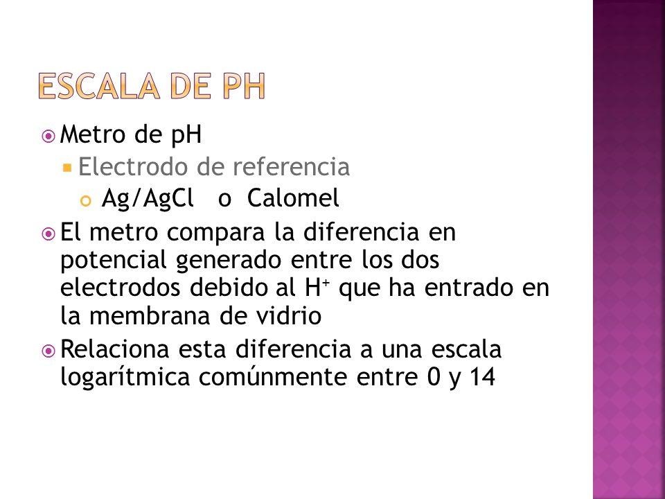 Escala de pH Metro de pH Electrodo de referencia Ag/AgCl o Calomel