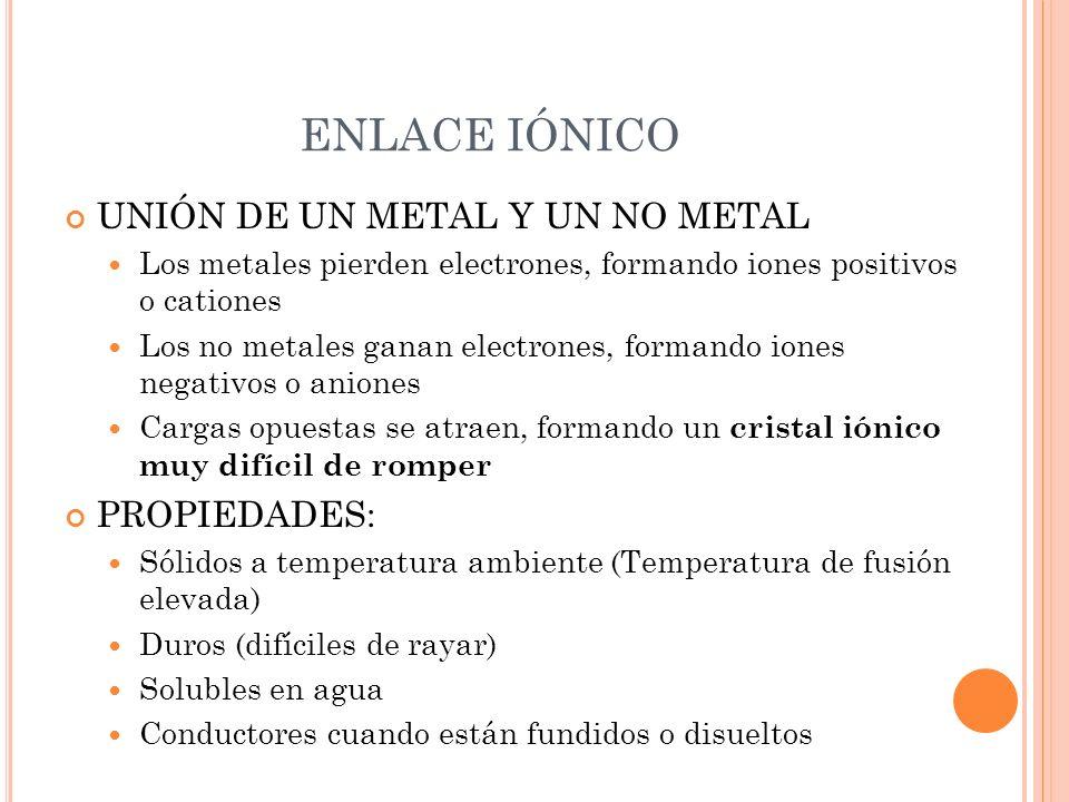 ENLACE IÓNICO UNIÓN DE UN METAL Y UN NO METAL PROPIEDADES: