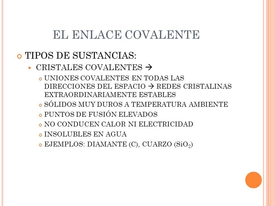 EL ENLACE COVALENTE TIPOS DE SUSTANCIAS: CRISTALES COVALENTES 